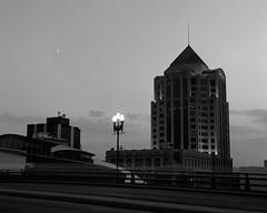 Moonrise, Roanoke Virginia (Paul Glover) Tags: blackandwhite moon tower 120 film silhouette skyline mediumformat twilight cityscape crescent roanoke moonrise wellsfargo offices nightfall yashicaa rodinal125 fujiacros100 bwfp