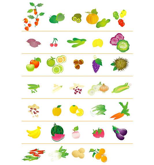 Vegetales y Fruta en Vector