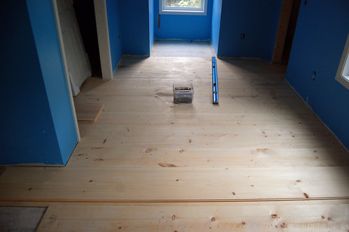 Floorboards getting installed
