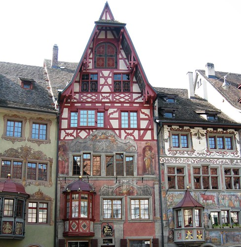 Town Hall Square, tall gabled houses with frescoes in Stein-am-Rhein, Switzerland