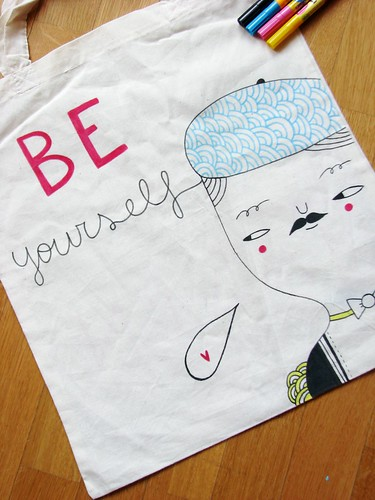 Be yourself - hand drawn tote bag by Pinkrain Indie Design