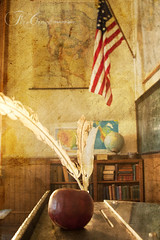 An Apple for the Teacher (redhatgal ~ Barbara Butler/FireCreek Photography) Tags: desk americanflag virginiacity oldschoolhouse teacherspet redhatgal kerncountyphotogaphers firecreekphotography kernphotographyassociation barbarabutlerphotography