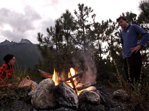 Emma + Jason with campfire