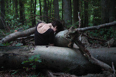 (laura zalenga) Tags: trees light woman black green me nature girl forest self dark neck back shoulder laurazalenga