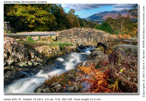 Ashness Bridge Derwent Water Cumbria With Skiddaw In The Distance