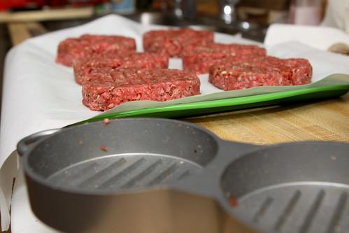 burger patties formed