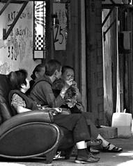Barber Shop Quartet (ROSS HONG KONG) Tags: leica ladies bw white haircut black hair hongkong minolta cut chinese barber kowloon 90mm f4 rokkor ngauchiwan m9p