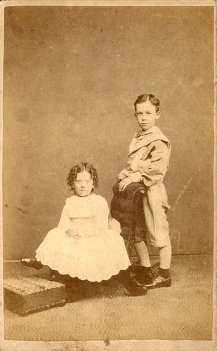 Portrait of a girl and boy by Louis Dolibo (mid 1860s-1870s)