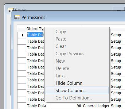 Permissions - Show Column