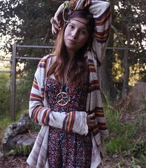 flower child. (bellejune) Tags: flower colour eye floral face leather necklace sweater peace hand arm bokeh stripe jewelry ring bracelet hippie flowerchild romper bellejune
