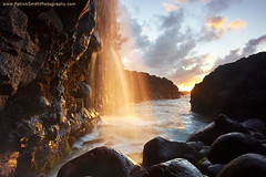 Golden Falls - Queen's Bath, Kauai, Hawaii (PatrickSmithPhotography) Tags: ocean sky cloud seascape black rock landscape hawaii lava waterfall pacific kauai queensbath