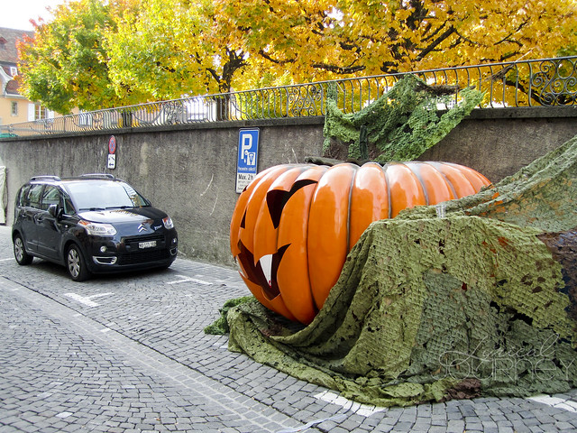 Giant Pumpkin with Car