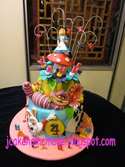 Alice in wonderland birthday cake (Jcakehomemade) Tags: flowers mushroom diamonds hearts clubs spades playingcards whiterabbit charactercake happy4thbirthday noveltycake girlsbirthdaycake aliceinwonderlandcake customizedcake childrenbirthdaycake jessicalaw kidpartycake 3dcartooncake cheshirecatgrinalice jyannesbirthdaycake jcakehomeblogspotcom