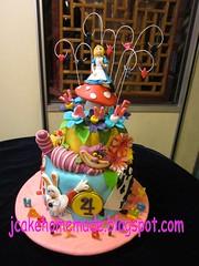 Alice in wonderland birthday cake (Jcakehomemade) Tags: flowers mushroom diamonds hearts clubs spades playingcards whiterabbit charactercake happy4thbirthday noveltycake girlsbirthdaycake aliceinwonderlandcake customizedcake childrenbirthdaycake jessicalaw kidpartycake 3dcartooncake cheshirecatgrinalice jyannesbirthdaycake jcakehomeblogspotcom