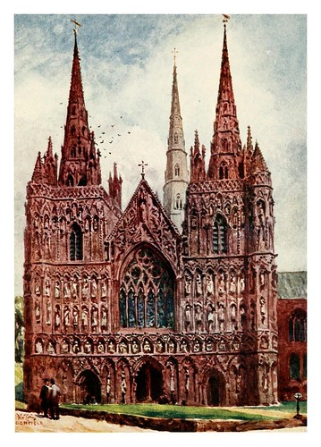 013-Lichfield fachada oeste- Cathedral cities of England 1908- William Wiehe Collins