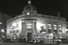 Ambulance in Georgetown. BW. (WilliamMarlow) Tags: washingtondc dc georgetown ambulance cc creativecommons emt washdc fotoweekdc fotodc fotodcnightvisions