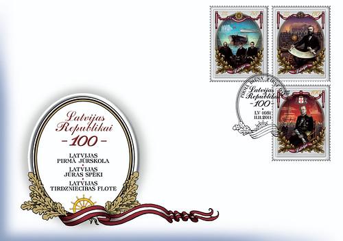 "Pirmās dienas aploksne sērijas ""Latvijas Republikai-100"" pastmarkām"
