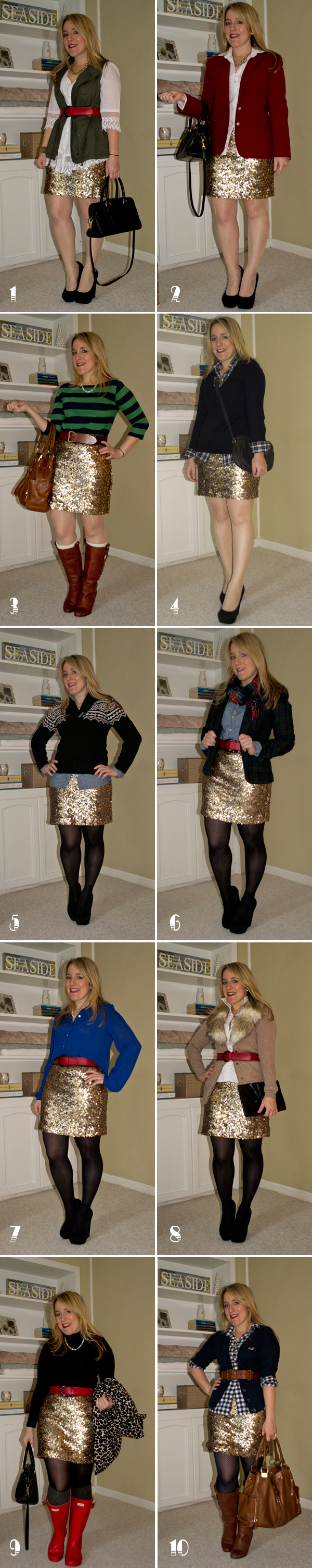 Sequin Skirt - 10 Ways