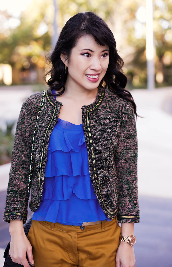 forever 21 crop shimmer jacket, loft blue ruffle shell, h&m mustard crop pants, sole society marco santi dash nude pumps, ann taylor gold skinny belt, michael kors rose gold small runway watch mk5430, chanel quilted lambskin m/l flap purse, enzo milano 25mm, clipless curling iron