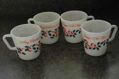 Merry Christmas mugs (the_robins.nest) Tags: red green kitchen vintage ribbons holly retro mug pyrex 1410 merrychristmasandahappynewyear opalglass