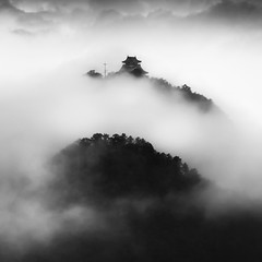 clouds over Gifu castle, 2 (StephenCairns) Tags: blackandwhite bw mist castle castles japan fog clouds     gifu  stormclouds   summerstorm  clearingstorm   canon50d 70200mmf4isusm   50dcanon  cloudsovergifucastle