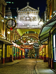 Leadenhall Market (Tomas Burian) Tags: christmas street city uk light england building london lamp architecture night buildings lights nikon cityscape leadenhallmarket market britain centre united capital cityscapes illumination gb nikkor kindom leadenhall wow1 2011 d90 unitedkindom nikond90 nikkor18105