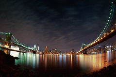 Ultra Fish-eye Effect! [Brooklyn&Manhattan Bridge] (Yohsuke_NIKON_Japan) Tags: nyc longexposure usa ny reflection water brooklyn night nikon manhattan wide dumbo fisheye tokina brooklynbridge manhattanbridge eastriver nightview      d300s