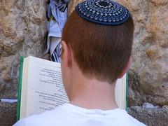 At the Western Wall (erikgstewart) Tags: israel worship jerusalem religion praying synagogue judaism hebrew westernwall kippa