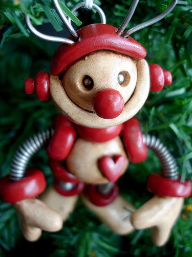 Red Ruby Reindeer Robot Sculpture Hanging Ornament by HerArtSheLoves