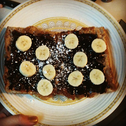 Dark chocolate banana french toast!