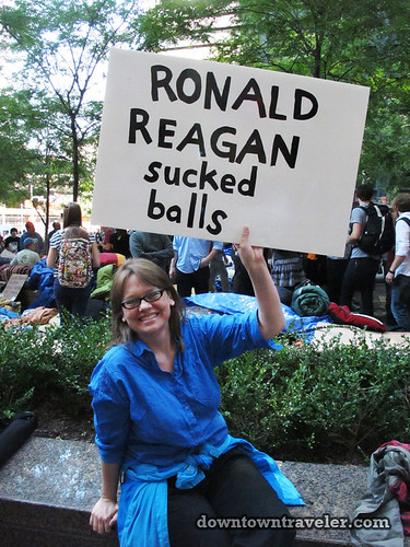 NYC Occupy Wall Street Rally Oct 8 2011 Ronald Reagan
