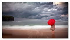 Red Umbrella (Colin_Bates) Tags: red seascape rain umbrella long exposure mona vale beaches northern storms nd110