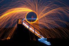 _DSC0348 (G.V Photographie) Tags: lightpainting france night del circle fire stand nikon long bretagne led nuit feu tribune 1224 cercle lon finistre longue whool d3000 stpoldelon moonpose lunefull lainedeferpleine exposurewire