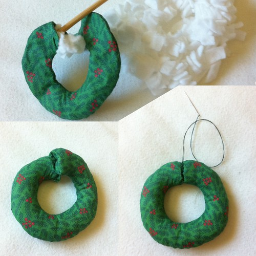 Mini Wreath Ornament construction example part 3