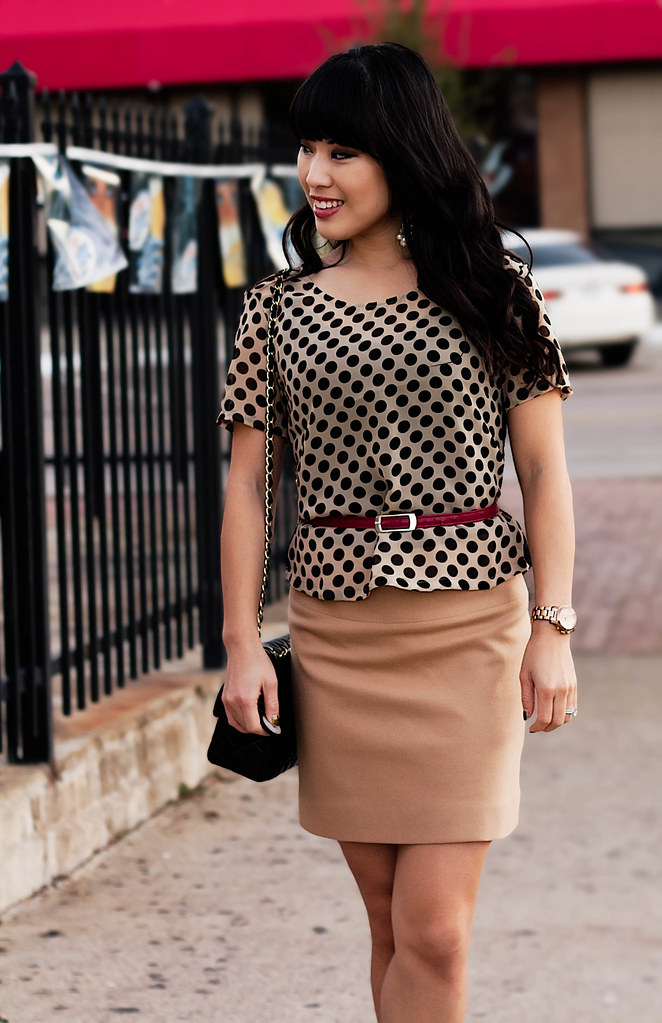 papaya polka-dot top, red skinny belt, banana republic wool camel mini skirt, jessica simpson astor black patent pumps, chanel m/l flap, forever 21 pearl chandelier earrings