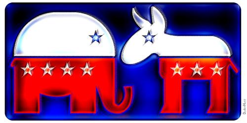Republican Elephant & Democratic Donkey by DonkeyHotey, on Flickr