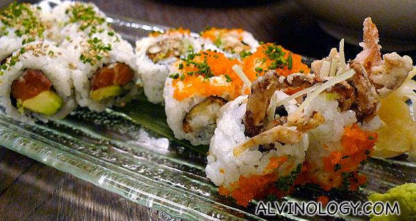 Salmon avocado and spider maki