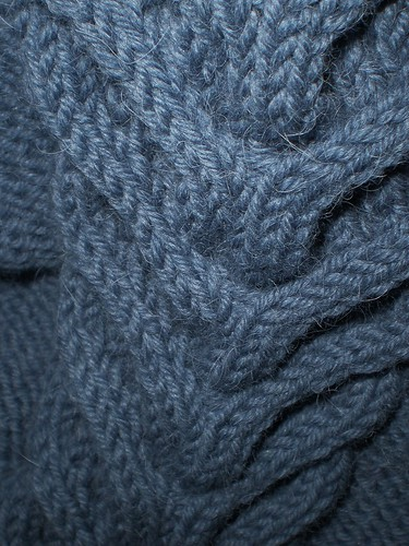 cable knitting blue