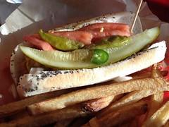 Dirty Frank's - Vegan Chicago and Fries (Amarand Agasi) Tags: chicago hotdog vegan yum sean fresh fries veggies iphone dirtyfranks amarand theamarand