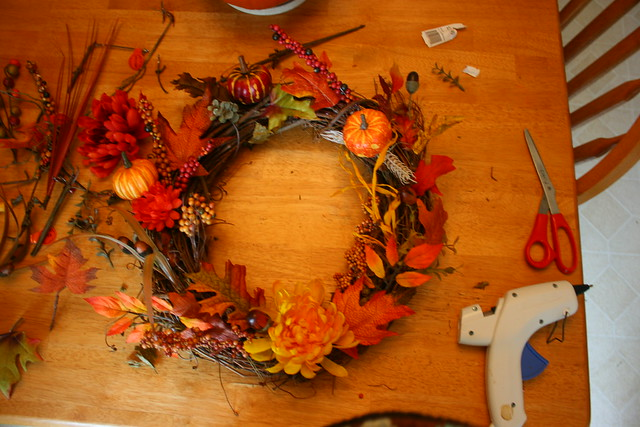 Placed everything on wreath before gluing
