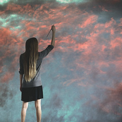 Cloud Painting (AftonDufoe) Tags: pink blue sky woman clouds painting neon pretty bright surreal dreamy portfolio fineartphotography texturesbylesbrumes aftondufoe