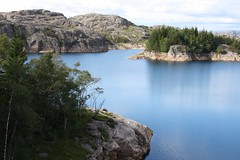 cool water (bluerapsody) Tags: blue trees sky mountain lake reflection nature water norway rock landscape islands norge cool rocks silent shine cloudy plateau clear birch waterline coolwater austagder egersund eigersund bluerapsody