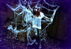 Black Widow (Cassie_Tucker) Tags: portrait halloween spider trapped model web spooky widow caught props