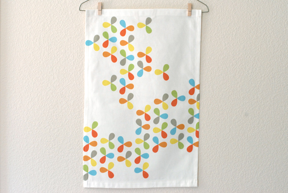 petals tea towel