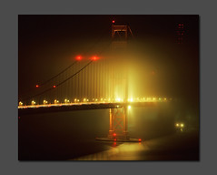 Somewhat Eerie at the Golden Gate (RZ68) Tags: bridge light tower film water fog night mediumformat dark lights golden gate san francisco long exposure glow south foggy trails spooky velvia goldengatebridge sutro glowing 6x7 streaks provia e100 rz68