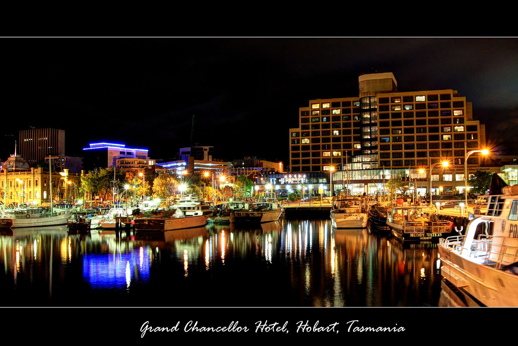 Grand Chancellor Hotel from harbour at night