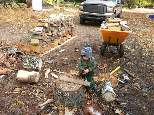 chopping wood like dada