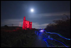 Red Alert (Light Painted Cornwall) Tags: world light cloud moon house lightpainting david heritage history abandoned tristan night clouds painting tin four site mine long exposure paint cornwall flat painted great engine trails mining led copper streaks derelict floodlight floodlit lanes cornish status lode redruth wheal wands barratt lightpaint lightpainted lanner uny carnkie wwwlightpaintedcornwallcom