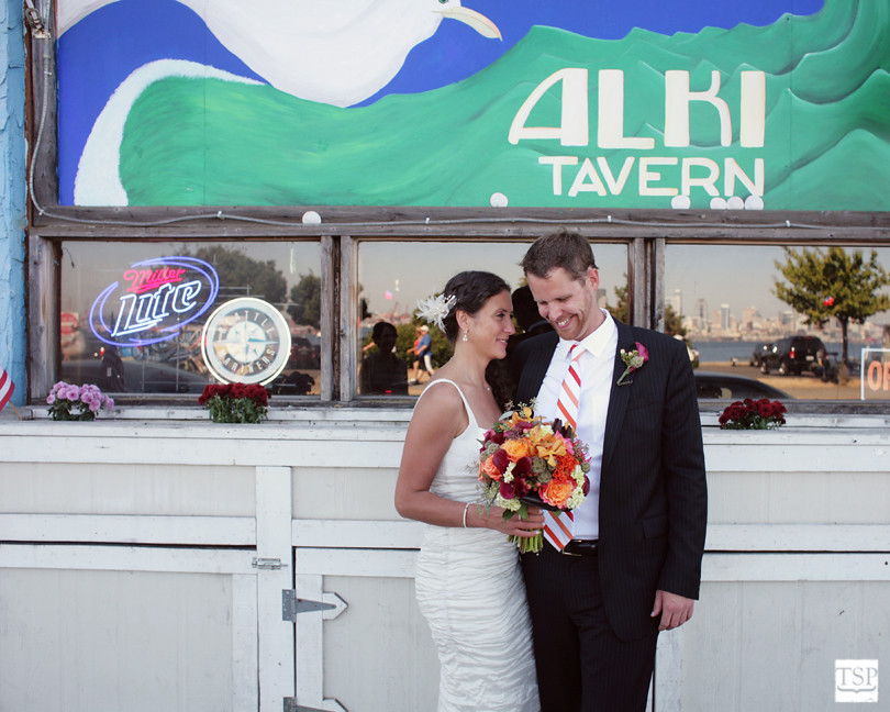 Bride and Groom at Alki Tavern