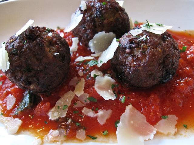 Sicilian meatballs: currants, pine nuts, reggiano, marinara sauce